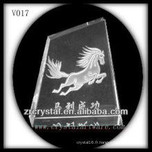 Bloc de cristal K9 avec image de sablage