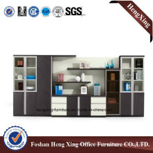 Aluminum Glass Doors Office Bookcase Modern Melamine Office Furniture (HX-6M084)