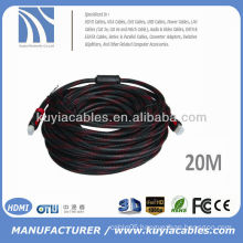 Gold Plated 20M HDMI Cable Male to Male With Nylon Dual Ferrite Beads