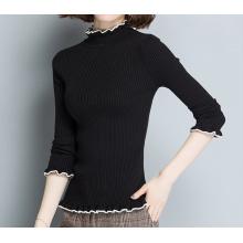 PK18ST096 clássico constratar camisola de lã com nervuras para as mulheres