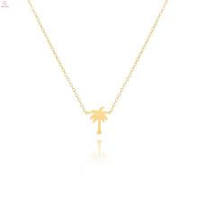 Überzogene Palme-Halskette des Edelstahl-18K Gold