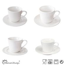 Taza de té y platillo al por mayor de porcelana