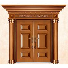 Porta de entrada principal exterior em aço de luxo