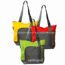Polyester Shopping Bags with 2 Front Pockets, Measures 16*14*4-inch