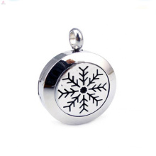 Fashion stainless steel Christmas snowflake perfume locket pendant jewelry