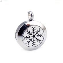 Moda de aço inoxidável floco de neve de Natal perfume medalhão pingente de jóias