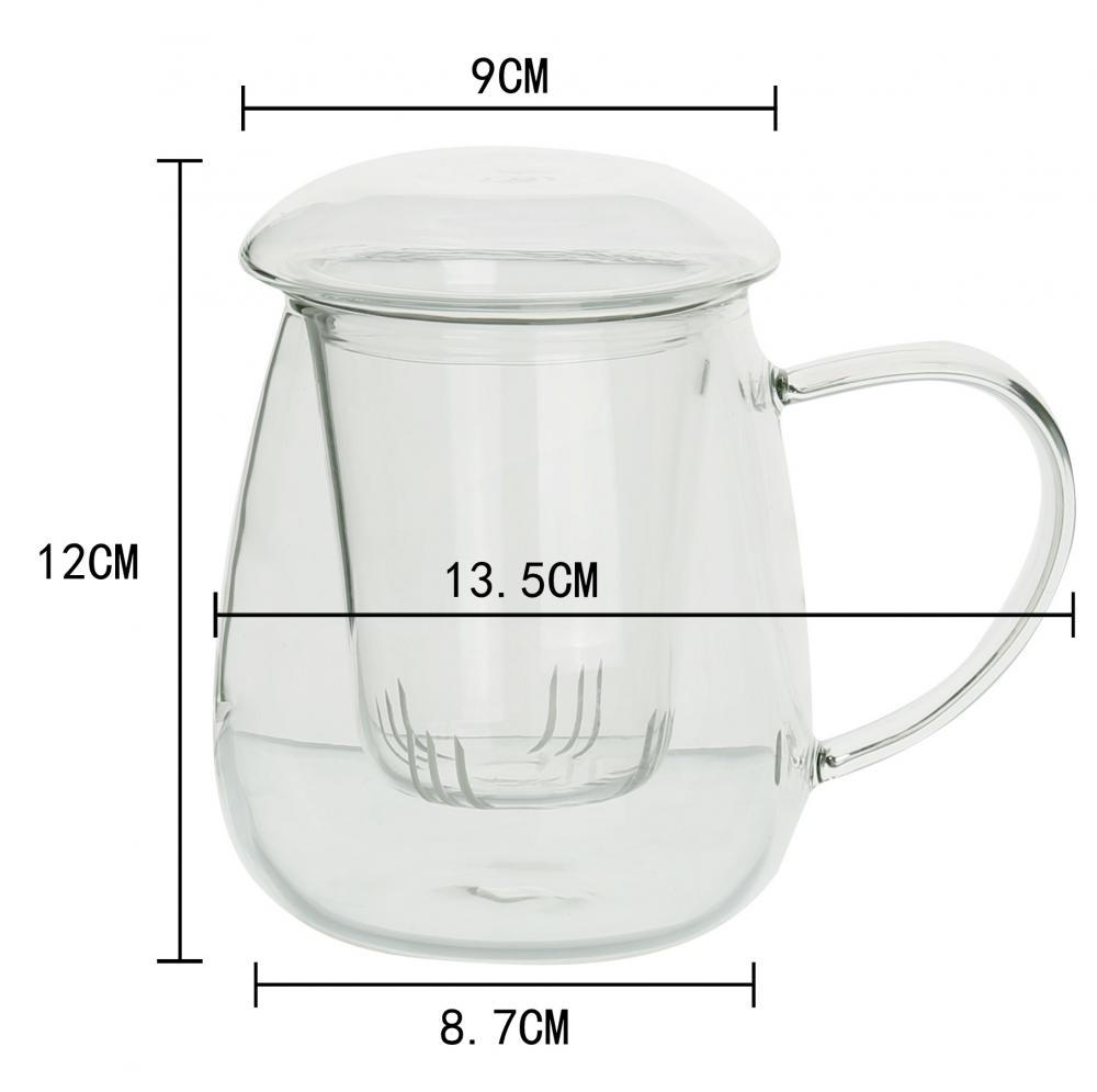 Tea Mug Glass Tea Mug with Filter and Lid Cups