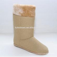 Tricoté en fausse fourrure féminine féminine en daim mi-hiver bottes pour filles