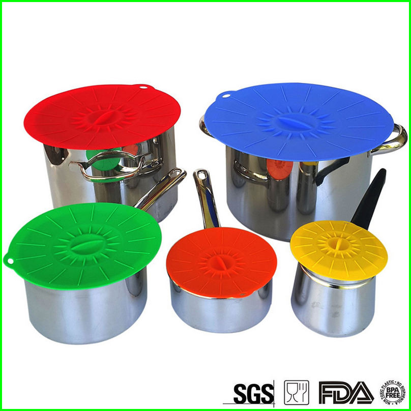 5pcs Eco Silicone Suction Lids Set Food Cover