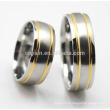 Oro de plata de dos tonos de acero inoxidable anillo de boda fija para pareja