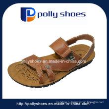 Мода повседневные короткие пятки Последние кожаные мужские сандалии