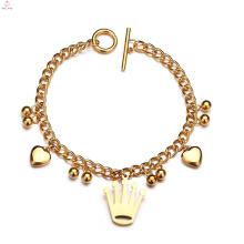 Acessório DIY Coração De Aço Inoxidável Bead Coração De Ouro Da Rainha Da Coroa Charm Bracelet
