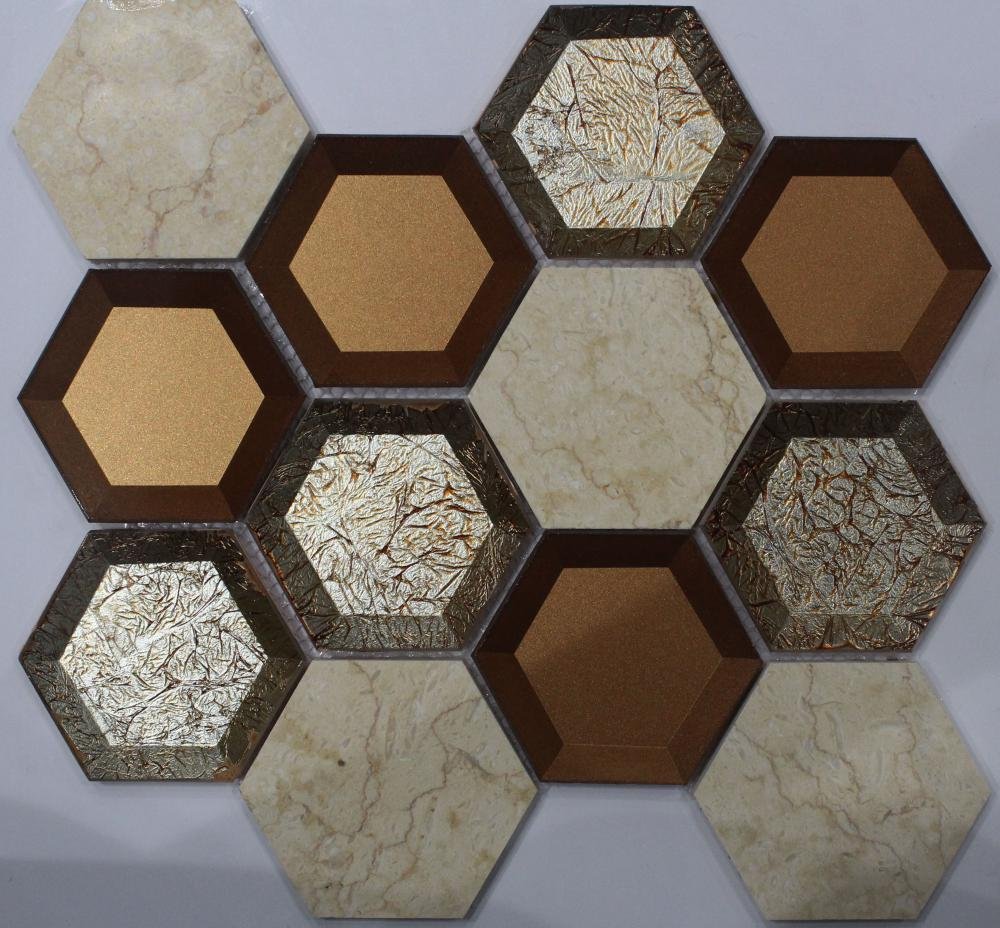 Hexagon Crystal Glass Marble Mixed Mosaic
