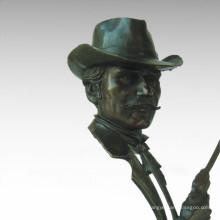 Bustes Laiton Statue Cowboy Décoration Bronze Sculpture Tpy-671