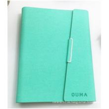 Logotipo de encargo del cuaderno del hardcover verde. Cuero de imitación PU Hoja suelta de cuaderno
