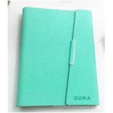 Grünes Notizbuch-kundenspezifisches Firmenzeichen. Kunstleder PU Loose-Leaf Notebook