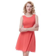 Kate Kasin Women Sleeveless Round Neck Chiffon A-Line Watermelon Simple Summer Dress KK000625-2