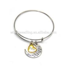 Bracelet réglable exquis personnalisé pour le bracelet coeur à l'infini infinité parentale