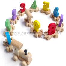 Custom Hot Sale DIY Kids Children Wooden Number Toy Train
