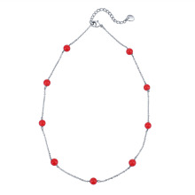 Corrente de prata esterlina Moda Red Pearl Necklace