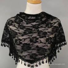 Venda quente moda feminina lenço de pescoço gancho de mão bandhnu triângulo lenço de renda