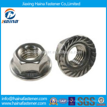 China Suppliers Stainless Steel 18-8 Hex Flange Nuts DIN6923