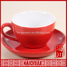 Beautiful flower design porcelain cup and saucer with stone