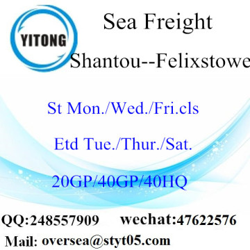 Shantou Port Sea Freight Shipping To Felixstowe