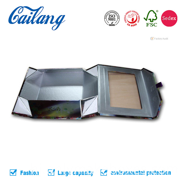 Collapsible Rigid CardboardSilver Gold Paper packaging box for apparel craft storage