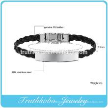 Bracelete trançado de couro preto do plutônio da corda do couro do plutônio do vintage do bracelete