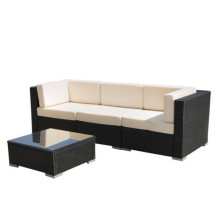 Set de sillón seccional al aire libre negro de mimbre