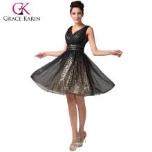 Women's Sexy Deep V-Neck New Fashion Knee Length Black Chiffon Homecoming Dresses CL6156
