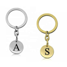 Beautiful Stainless Steel Wholesale Round Disc Engraved Alaphabet Letters Keyring Key Chain