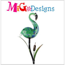 Hot Selling Green Flamingos Glass Lamp Solar Garden Stakes