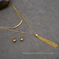 18K Gold Plated Jewelry Set Factory Cheap Tassel Necklace And Earring Set
