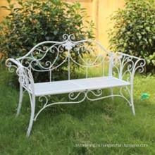 Горячая продажа складной белый кованого железа скамейке сада