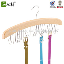 Natural Hardwood 24 Ties organizer Wooden Rotating Tie Hanger