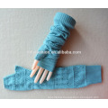 girl knitted cashmere pierced pure color fingerless gloves