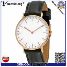 Gama alta YXL-653 negocio acero inoxidable nuevo cuero reloj de cuarzo, carcasa acero inoxidable reloj