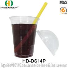 Vaso desechable de plástico transparente de 14 oz con tapa tipo domo