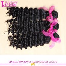 Красивая скручиваемость двойной уток Девы Малайзии глубоко вьющиеся волосы