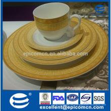 2015 nuevos productos de lujo de alta calidad falsos de oro patrón de hotel hueso fino china vajilla