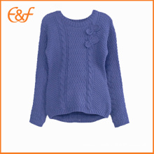 Latest Design Winter Cable Knit Sweater Knitwear For Girls