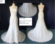 Ivory White Bateau Neckline Trumpet Strapless Lace Organza Backless Wedding Dresses