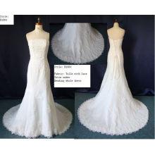 Ivory White Bateau Neckline Trumpet Strapless Lace Organza Backless Wedding Dresses