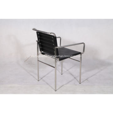 Eillen gray dining chair in black leather