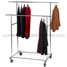 Porte-vêtements à double barre rabattable en acier chromé