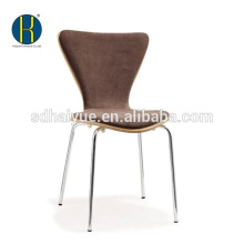 2017 Popular wooden Restaurant Chair with soft cushion, dining chair with chrome legs