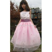 Klassisches und reizendes rosa appliqued Blumenmädchen dressgirls Parteikleid 1029-1