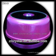 Base de luz LED de plástico púrpura para Crystal